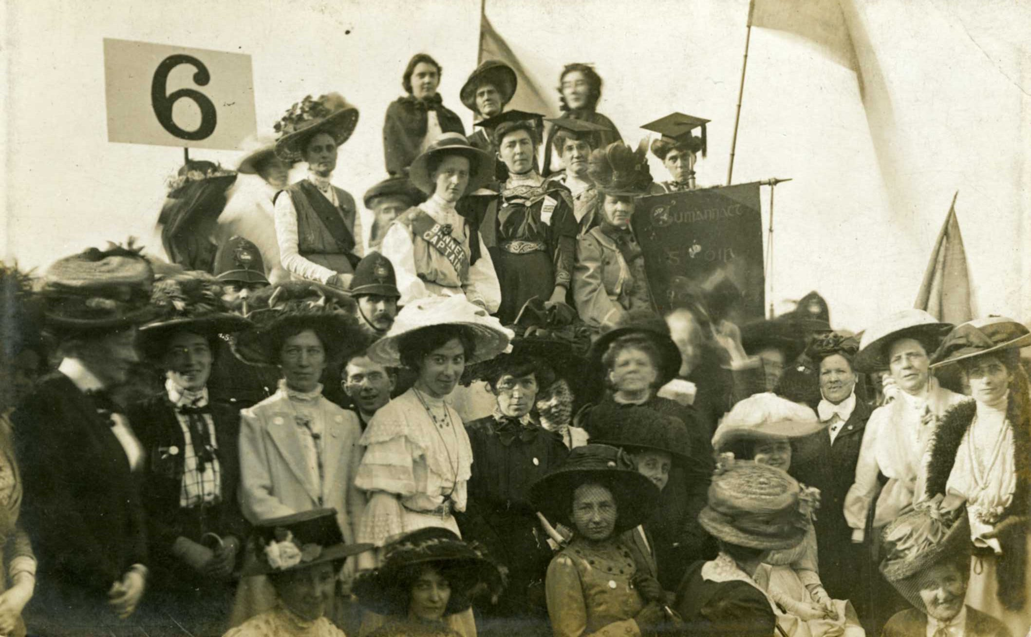 Postcard showing Irish suffragettes at a mass suffrage rally in London, c. 1912. Courtesy of Dublin City Library & Archive.