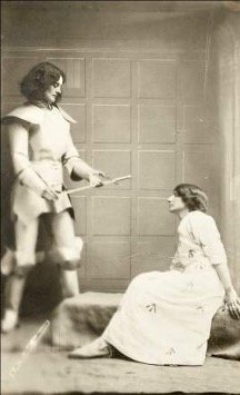 Countess Constance Markievicz playing the role of Joan of Arc at the IWFL Daffodil Fete in 1914